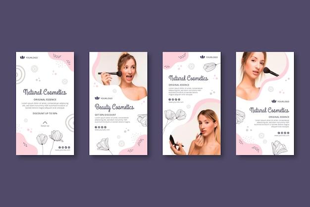 Modèle d'histoires instagram cosmétiques cosmétiques pour le visage
