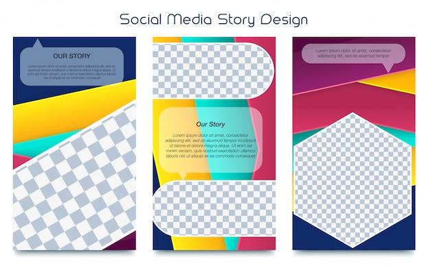 Modèle d'histoires instagram ensemble de vecteur d'image photo