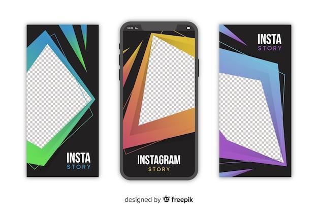 Modèle d'histoires instagram géométriques abstraites