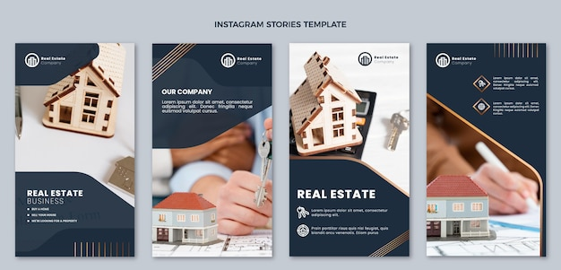 Modèle d'histoires instagram de l'immobilier dégradé