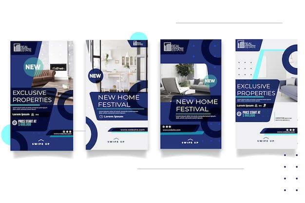 Modèle D'histoires Instagram Immobilières Vecteur Premium