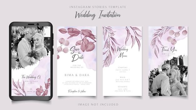 Modèle d'histoires instagram d'invitation de mariage élégant avec fond de cadre floral
