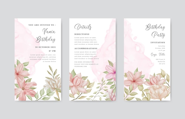 Modèle d'histoires instagram de joyeux anniversaire avec cadre floral aquarelle