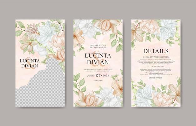Modèle d'histoires instagram de mariage floral aquarelle