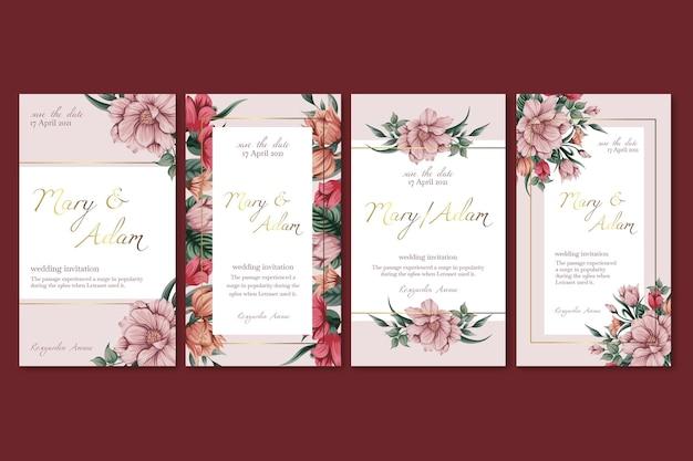 Modèle d'histoires instagram de mariage floral