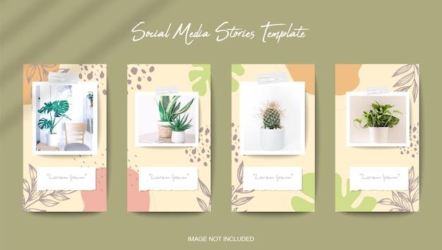 Modèle d'histoires instagram de médias sociaux avec fond de forme organique