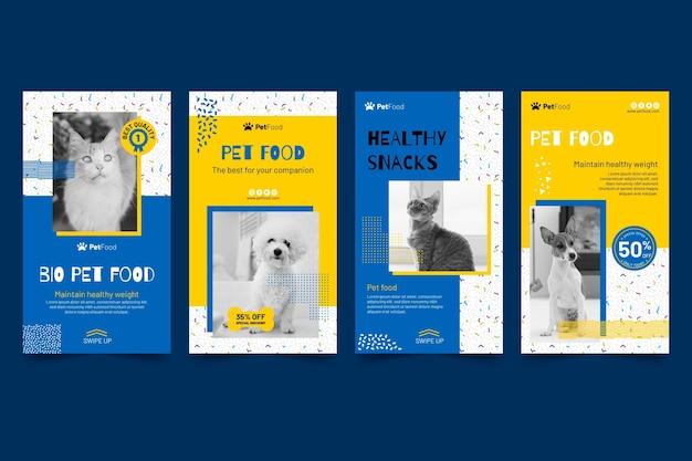 Modèle d'histoires instagram de nourriture animale