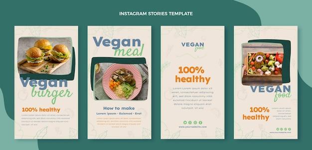 Modèle d'histoires instagram de nourriture dessinée à la main