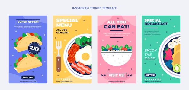 Modèle d'histoires instagram de nourriture plate