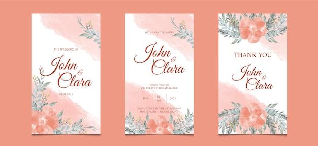 Modèle d'histoires instagram pour carte d'invitation de mariage avec fond floral aquarelle