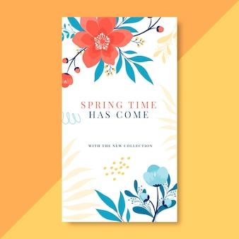 Modèle d'histoires instagram printemps dessinées à la main en fleurs
