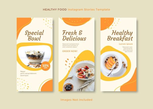 Modèle d'histoires instagram propres et simples pour une alimentation saine