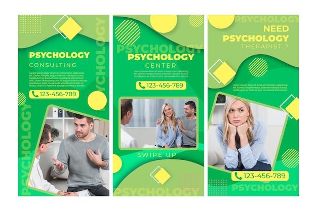 Modèle d'histoires instagram de psychologie
