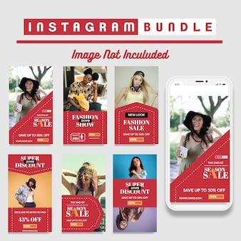 Modèle d'histoires instagram avec réduction créative