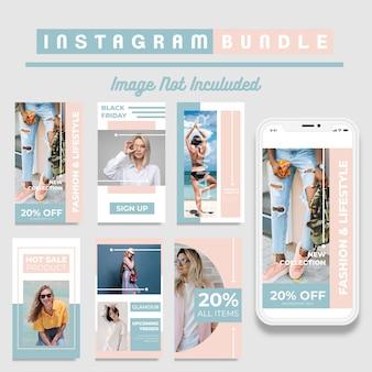 Modèle d'histoires instagram de réductions créatives