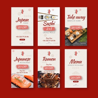 Modèle d'histoires instagram de restaurant japonais