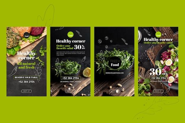 Modèle d'histoires instagram de restaurant sain