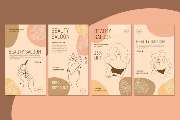 Modèle d'histoires instagram de salon de beauté