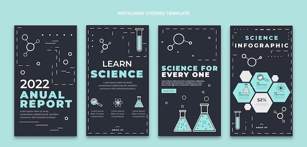 Modèle d'histoires instagram de science de style plat