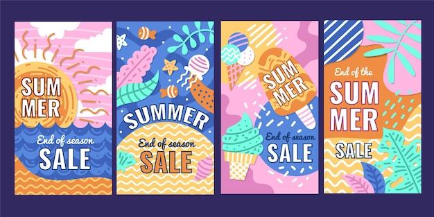 Modèle d'histoires instagram de soldes d'été de fin de saison