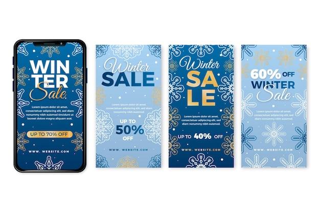 Modèle d'histoires instagram de soldes d'hiver