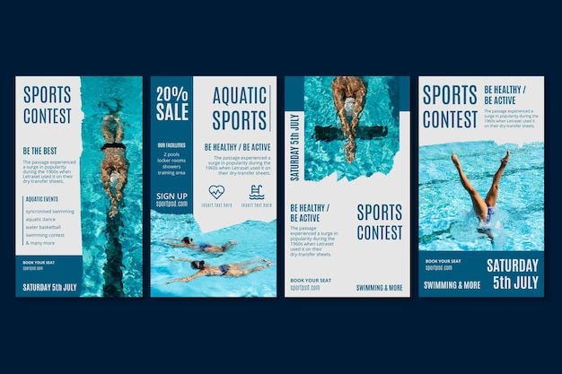 Modèle d'histoires instagram de sports aquatiques