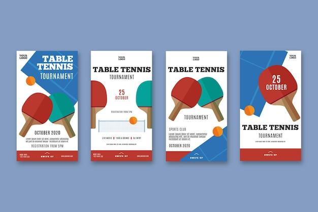 Modèle d'histoires instagram de tennis de table