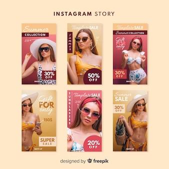 Modèle d'histoires d'instagram de vente d'été