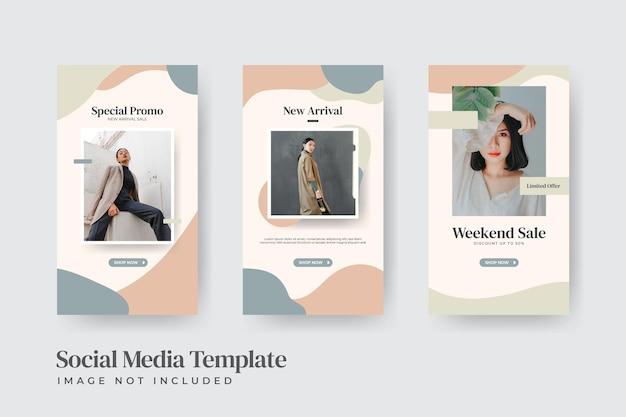 Modèle d'histoires instagram de vente de mode minimale