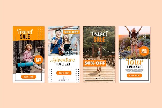 Modèle d'histoires instagram de vente de voyage