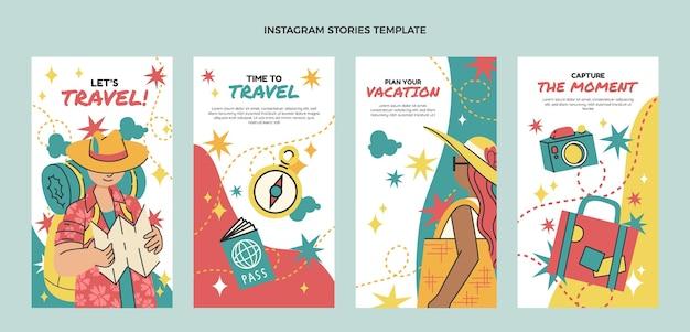 Modèle d'histoires instagram de voyage design plat