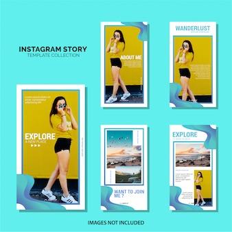 Modèle d'histoires d'instagram de voyage ou de vacances