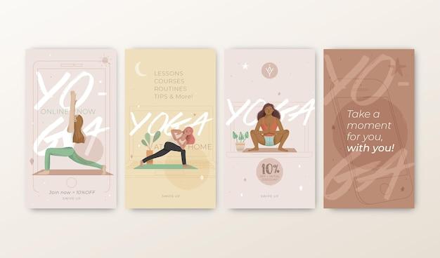 Modèle D'histoires Instagram De Yoga Vecteur gratuit