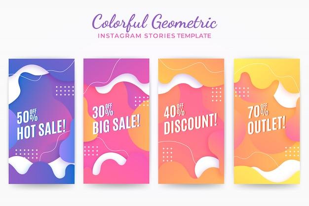 Modèle d'histoires d'instragram géométrique coloré