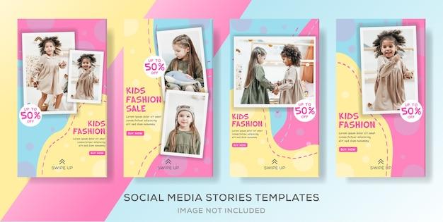 Modèle d'histoires de médias sociaux pour enfants