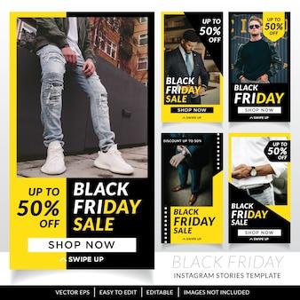 Modèle d'histoires de médias sociaux de vente vendredi noir