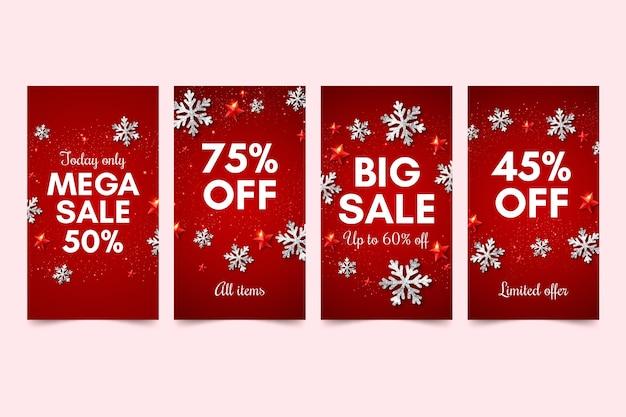 Modèle d'histoires de médias sociaux de ventes d'hiver
