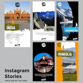 Modèle d'histoires de médias sociaux de voyage