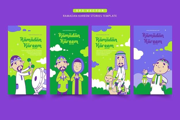 Modèle d'histoires de ramadan avec le dessin animé musulman mignon