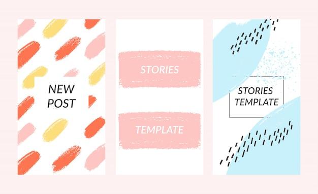 Modèle d'histoires sociales. conception de papier déchirable éditable. concept de style de vie.