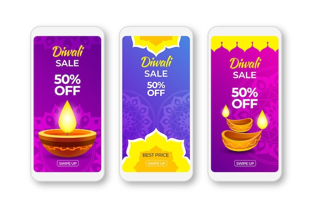 Modèle d'histoires de vente instagram happy diwali
