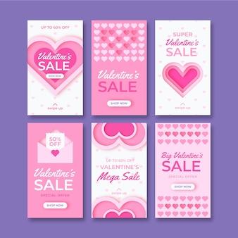 Modèle d'histoires de vente de valentine d'istagram