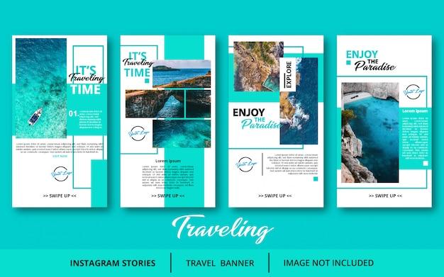 Modèle d'histoires de voyage instagram