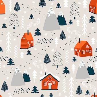 Modèle d'hiver avec arbre de noël et maison.