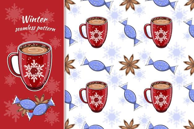 Modèle d'hiver sans couture avec boisson au café chaud