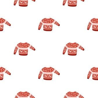 Modèle d'hiver sans couture isolé avec ornement pull de couleur rouge. fond blanc. plat