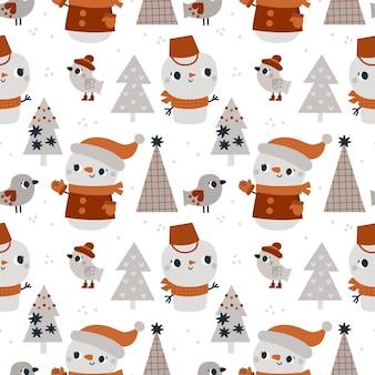 Modèle d'hiver sans couture avec des personnages de bonhomme de neige d'arbre de noël et des oiseaux pour les enfants