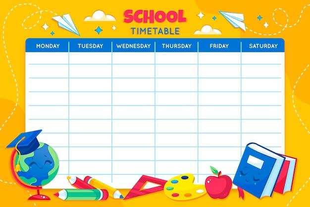 Modèle d'horaire détaillé de retour à l'école