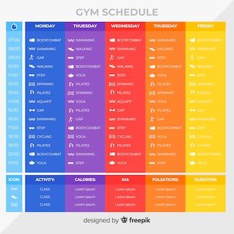 Modèle d'horaire d'entraînement en gymnase