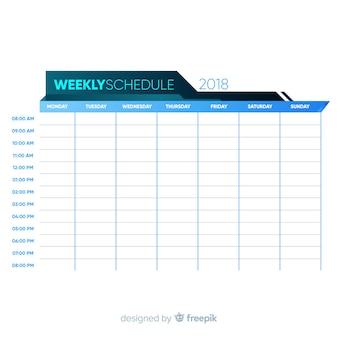 Modèle d'horaire hebdomadaire coloré avec un design plat